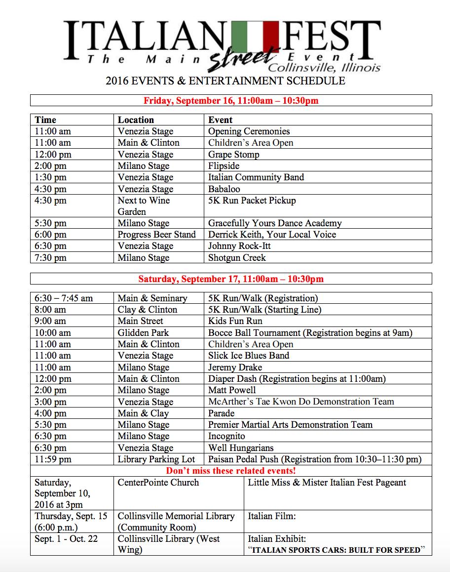 2016 Italian Festival Schedule